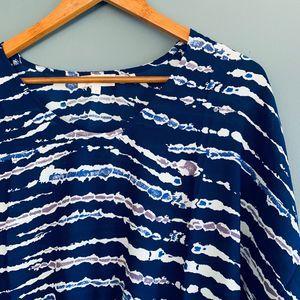 Kenar Tie Waist Tie Dye Blouse Blue Small